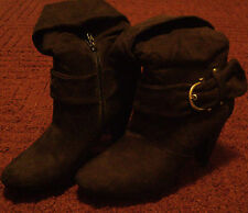 Women's Apt. 9 Black Suede Like Buckle Design Casual High Heel Boots Shoes 9M