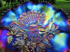 Northwood PEACOCKS ANTIQUE CARNIVAL ART GLASS RUFFLED BOWL~ELECTRIC PURPLE~WOW!