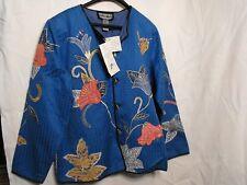 QVC  Wearable Art Womens Linen Open Front Jacket Sz.L BlueFloral