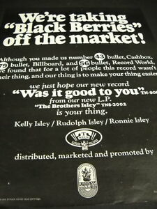 ISLEY BROTHERS are taking BLACK BERRIES off the market 1969 PROMO POSTER AD