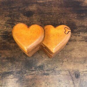 Double Heart 4 Bit Wooden Puzzle Box Secret Box Magic Trinket Handmade Fairtrade