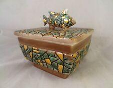 VINTAGE Art Deco Abstract Square Bowl Fish Handle Top PY JAPAN UCAGCO Ceramics