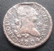 1804 Segovia 4 MARAVEDÍ CARLOS IV Cobre Colonial Española España Moneda Pirata
