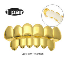 Gangster Custom Fit Top&Bottom Caps Cosplay Grillz Gold Plated HipHop Teeth