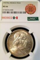 1947 MEXICO SILVER UN PESO MORELOS NGC MS 66 HIGH GRADE MONSTER GEM BU COIN