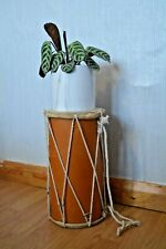 More details for vintage dholak drum indian dholki drum recycled materials plant stand end table