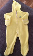 Vintage Tailered Baby Inc. 0-6M Fleece Yellow Duck Zip Pram Suit