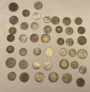 76 Grams MIXED LOT OF 42 WORLD SILVER COINS - NICE MIX OF LOCATIONS