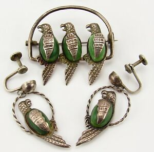 1940s Mexico 3 Parrot Birds On Perch 925 Silver & Green Stone Earring Brooch Set