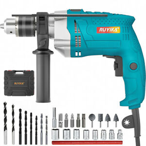 1100W Heavy Duty Impact Drill Corded Electric Hammer Screwdriver Bit Set w/ CASE