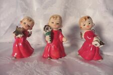 Three Japan Vintage Christmas Ceramic Blond Angel Girls holding Star Candle Bell