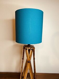 Teal Linen Handmade Lampshade Gold, Copper, Silver Lining, Drum, Empire, Coolie
