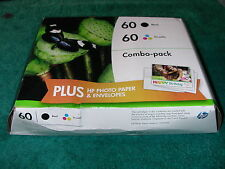 New Genuine HP Combo-pack 60 BLACK & TRI-COLOR Ink Cartridge Paper Expire 2016
