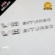 ABS OEM V8 BITURBO Side Fender Logo Nameplate Emblem AMG Decoration 2pcs