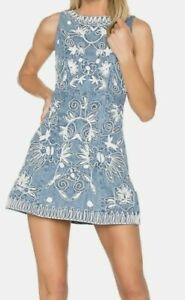 Alice + Olivia Lindsey Embroidered Cotton Chambray Dress Floral sz 4 So Cute!!!