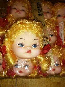 "2.5"" Plastic Girl Doll Head Vintage Blonde Pigtails X 6"