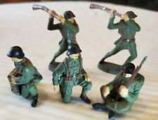 5 VINTAGE COMPOSITE ELASTOLIN,GERMANY. SWISS MILITARY FIGURES- RIFLE CLUBBERS