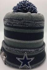 Dallas Cowboys New Era NFL Knit Beanie Hat with Pom Graphite-Blue