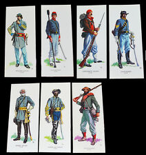 American Civil War Uniforms Of The Confederacy Set Of 7 Art Cards In Wallet