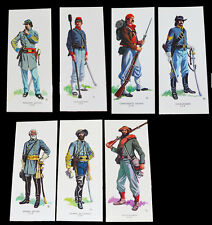 American Civil War Confederate Uniforms Set Of 7 Art Cards In Wallet Inf Cav Art