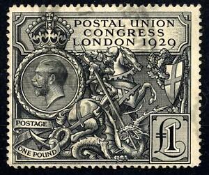 GB 1929 KGV £1 PUC Black, Good Used SG 438 Cat £550