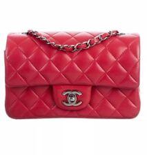 Chanel Classic Mini Qulited Red Lamb Leather Chain Strap Crossbody Flap bag