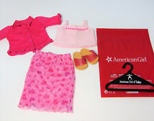 American Girl Doll Clothes VALENTINE PARTY OUTFIT Pink Hearts Top Skirt Sandals