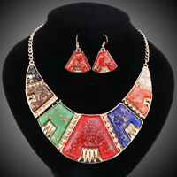 Fashion Bohemian Chunky Resin Beads Chain Metal Statement Necklace Earring Sets