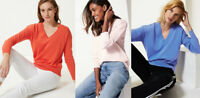 M&S Womens Cotton Blue Orange Pink V Neck Jumper Sweater Top 10 12 16 20 24