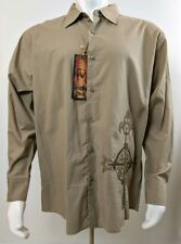 Franky Max Long Sleeve Casual Shirt Embroidered Sage Brown Size 2XL NWT