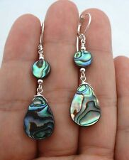 Smooth Green Paua Abalone Shell Sterling Silver Earrings A1325