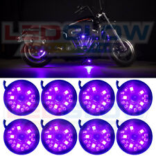 8PC LEDGLOW PURPLE SMD LED MOTORCYCLE POD NEON UNDERGLOW LIGHTING KIT w SWITCH