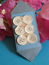 1274B Ravishing Card Old 6 Medium Buttons of Mother-Of-Pearl Period New Art