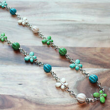Hand crafted Semi-Precious Turquoise Butterfly Stone Necklace - Blues/Greens