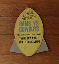>1963 *Easel-Back Football Sign* DALLAS COWBOYS v LOS ANGELES RAMS Charity Game!