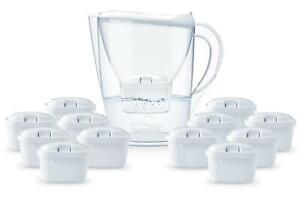 Aqualogis 2.6L Water Filter Jug White + 12 Month Cartridge Pack Fit Brita Maxtra
