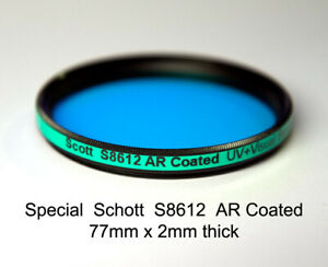Schott S8612 AR COATED 77mm x 2mm IR Cut, UV+Visual Band, IR Suppression