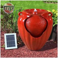 Gardenwiz Red Garden Outdoor Solar Ceramic Pot Terracotta Water Fountain Feature