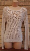 FAT FACE 100% COTTON CREAM KNIT KNITTED CROCHET BAGGY TOP JUMPER CARDIGAN 14 L