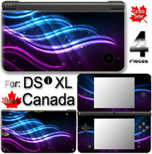 Wavy Neon Blue Purple SKIN STICKER for Nintendo DSi XL