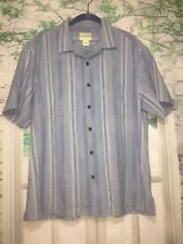 Joseph and Feiss Men's Hawaiian Tropical Print Camp Shirt Textured Blue Sz XL