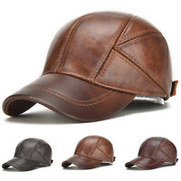US 2019 Mens Casual Genuine Cow Leather Baseball Cap Hats With Ear Flaps Adjust
