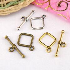 20Sets Tibetan Silver,Antiqued Gold,Bronze Square Connectors Toggle Clasps M1412