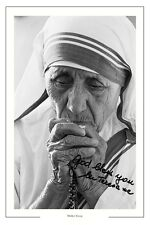 MOTHER TERESA AUTOGRAPH SIGNED PHOTO PRINT CALCUTTA