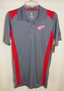 New Detroit Red Wings Shirt Red Gray Short Sleeve Polo Small