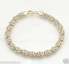"""6.75"""" Textured Byzantine Bracelet w/ Lobster Clasp Real 14K Yellow White Gold"""