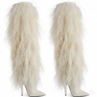 White Fur Stilettos Knee High Boots Women's Pointed GoGo Halloween Costume Boots