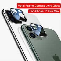 For iPhone 11 Pro Max Metal Frame Camera Lens 9H Tempered Glass Protector-WI