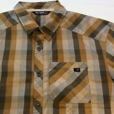 ARC'TERYX Brown Plaid/Stripe SS 1 Pocket Cotton/Poly Button Shirt Men's Large L