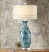 Coastal Table Lamp Ceramic Blue Drip Vase Handcrafted for Living Room Bedroom